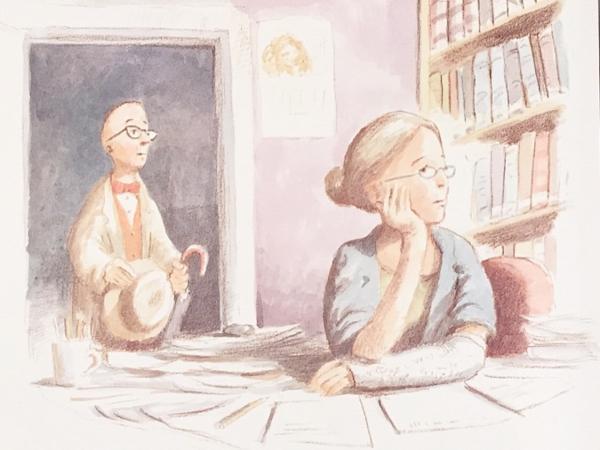 絵本「図書館ライオン」33ページ挿絵。窓の外を寂しそうに眺めるメリウェザー館長と、それを見て彼女を心配するマクビーさん