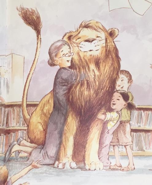「図書館ライオン」42ページ挿絵。再会を喜ぶライオンとメリウェザー館長、図書館の利用者の子供達。