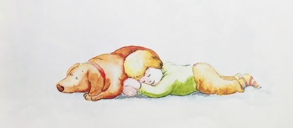 エルフィーのお腹を枕に眠る『ぼく』