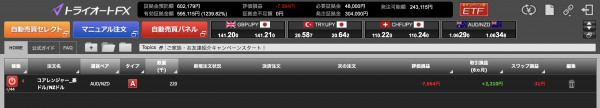トライオートFXの個人ページのスクリーンショット